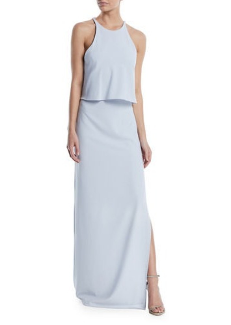 Halston Heritage High-Neck Gown w/ Draped Ruffle Back