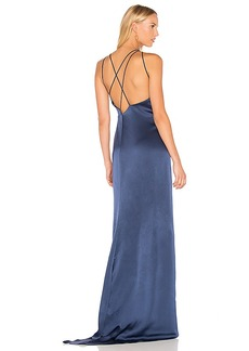 Halston Heritage High Neck Gown With Back Drape in Navy. - size L (also in M,S,XS)