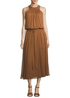 Halston Heritage High-Neck Ruched Midi Dress