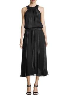 High-Neck Ruched Silk Midi Dress