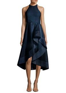 Halston Heritage High-Neck Sleeveless Cocktail Dress w/ Flounce Skirt