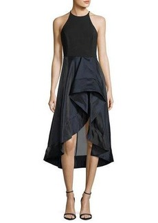 Halston Heritage High-Neck Sleeveless Cocktail Dress w/ Flounce Skirt