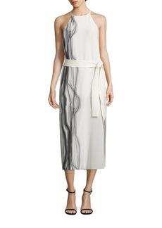 Halston Heritage Highneck Printed Silk Slip Dress