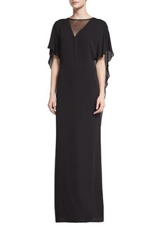 Halston Heritage Illusion-Neck Caftan-Style Evening Gown