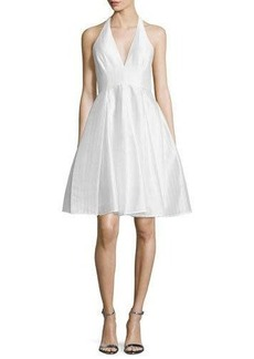 Halston Heritage Jacquard Halter Party Dress