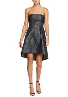 Halston Heritage Jacquard Strapless Fit & Flare Cocktail Dress