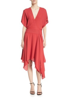Halston Heritage Kimono Asymmetric V-Neck Wrap Dress