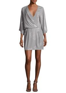 Halston Heritage Kimono-Sleeve Faux-Wrap Printed Dress