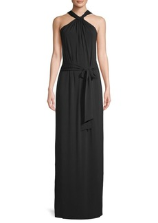 Knotted Halter Column Gown