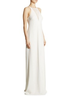 Halston Heritage Lace-Inset Crepe Gown