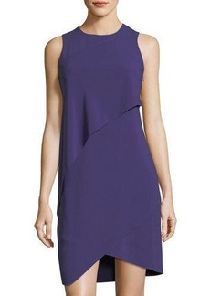 Halston Heritage Layered Crepe Sleeveless Dress