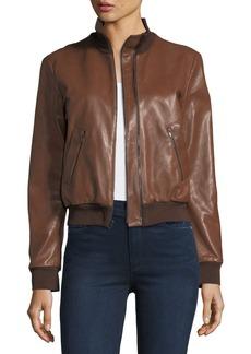Halston Heritage Leather Bomber Jacket