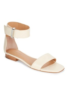 Halston Heritage Leather Flat Ankle-Strap Sandals