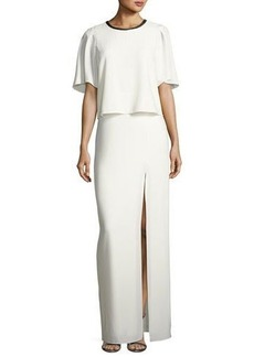 Halston Heritage Leather-Neck Popover Gown W/ Slit