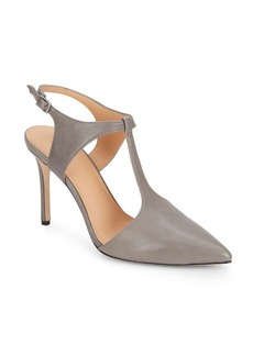 Halston Heritage Leather Point Toe T-Strap Pumps