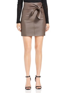 HALSTON HERITAGE Leather Tie-Waist Mini Skirt
