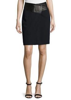 Halston Heritage Leather-Waist Tailored Pencil Skirt
