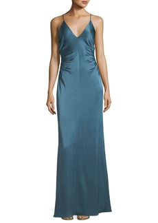 Halston Heritage Long Evening Slip Gown  w/ Side Gathers