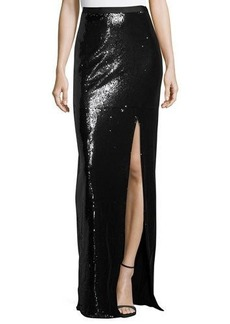 Halston Heritage Long Sequined High-Slit Maxi Skirt