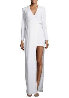 Halston Heritage Long-Sleeve Asymmetric Jersey Gown