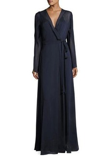 Halston Heritage Long-Sleeve Belted Chiffon Wrap Gown