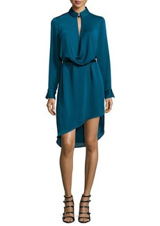 Halston Heritage Long-Sleeve Belted Draped Dress