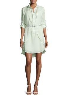Halston Heritage Long-Sleeve Belted Overlay Shirtdress