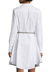 Halston Heritage Long-Sleeve Belted Structured Shirtdress