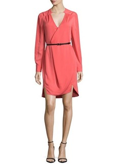 Halston Heritage Long-Sleeve Belted Wrap Dress