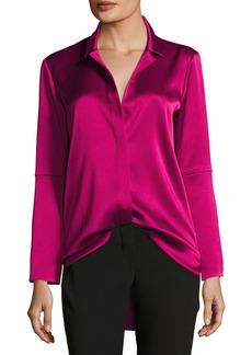 Halston Heritage Long-Sleeve Button-Front Satin Shirt