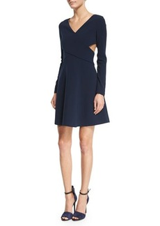 Halston Heritage Long-Sleeve Crisscross Fit & Flare Dress