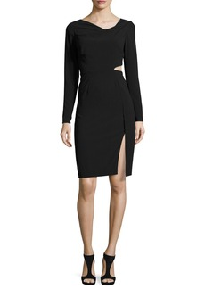 Halston Heritage Long-Sleeve Cutout Sheath Dress