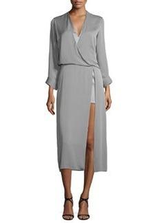 Halston Heritage Long-Sleeve Draped Midi Dress