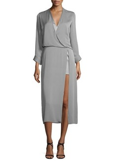 Halston Heritage Long-Sleeve Draped Midi Dress