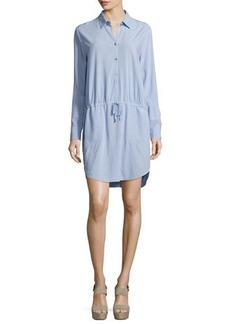 Halston Heritage Long-Sleeve Drawstring-Waist Shirtdress