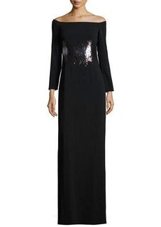 Halston Heritage Long-Sleeve Embellished Evening Gown