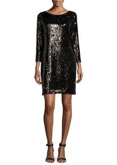 Halston Heritage Long-Sleeve Embellished Shift Dress