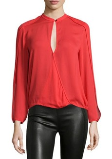 Halston Heritage Long-Sleeve Faux-Wrap Top