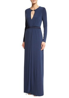 Halston Heritage Long-Sleeve Gown W/Keyhole