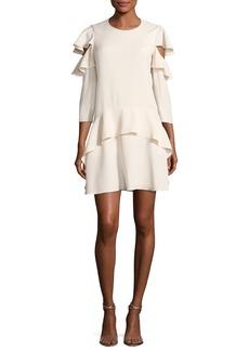 Halston Heritage Long-Sleeve Jewel-Neck Short Dress