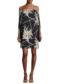 Halston Heritage Long-Sleeve Off-the-Shoulder Printed Dress