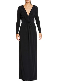Halston Heritage Long Sleeve Ruched Jersey Gown