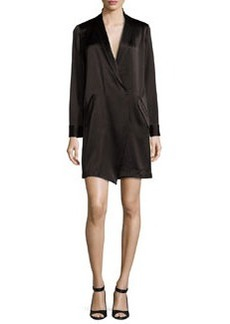 Halston Heritage Long-Sleeve Shawl-Collar Satin Shirt Dress