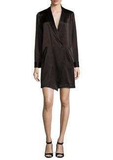 Halston Heritage Long-Sleeve Shawl-Collar Satin Shirt Dress