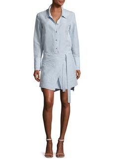 Halston Heritage Long-Sleeve Shirtdress w/ Wrap Skirt