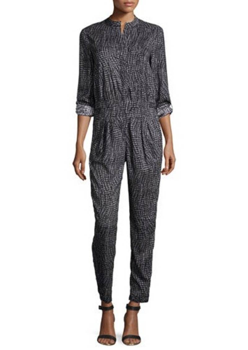 Halston Heritage Long-Sleeve Slim-Leg Jumpsuit