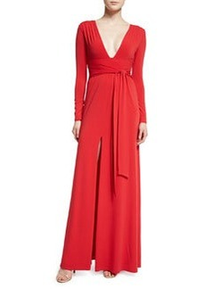 Halston Heritage Long-Sleeve Stretch Jersey Tie-Waist Gown