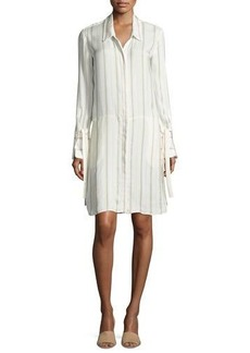Halston Heritage Long-Sleeve Striped Shirtdress w/ Wide Tie Cuffs