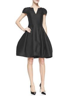 Halston Heritage Maggie Tulip-Skirt Split-Neck Dress