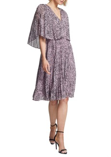 Halston Heritage Marble Print Popover Pleated Dress